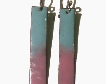 Handmade enamel light blue and pink drop earrings