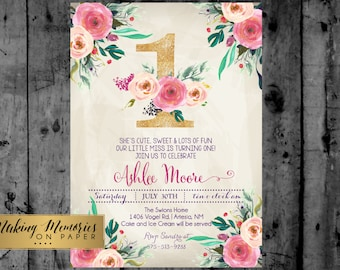 First Birthday Party Invitation, 30th, 40th, Watercolor, Flowers, Floral, Shower Invitation, Floral Invite, Flower Invite -  sfc