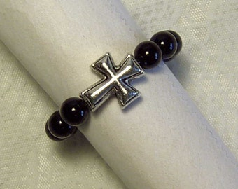 "Cynthia Lynn ""SACRIFICE"" Silver Plated Black Onyx Beaded Christian Cross Ring"