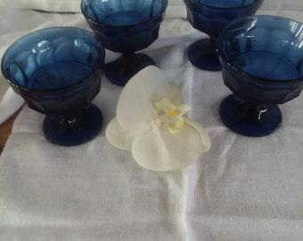 Vintage Cobalt Blue Sherbert/Dessert Footed Bowls