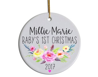 Baby's First Christmas Ornament, First Christmas Ornament, Baby Ornament, Custom Baby Ornament, Personalized Ornament, Child's Ornament