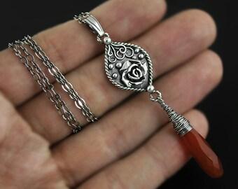 Carnelian rose, sterling silver, silver carneol pendant, necklace rose motive, rose pattern, carnelian, metalwork, flower pendant