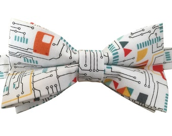 Men's Bow Tie, Bow Tie for Men, Science IT Bow Tie, Computing Circuit Board Bow Tie, White Bow Tie