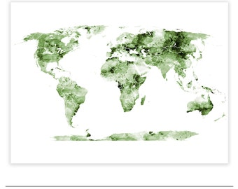 Green world map etsy olive green world map map art poster 16x20in watercolour texture world map printable map gumiabroncs Choice Image