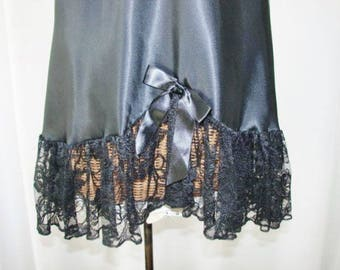 80s Nightgown Cline Star Wide Lace Hemline Black Medium