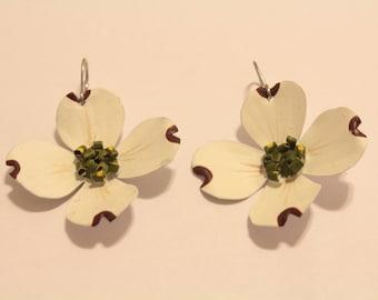 White Dogwood Tree Bloom Earrings