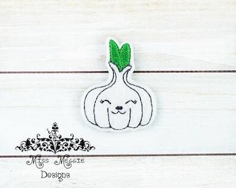 Kawaii Garlic Bulb feltie design ITH embroidery design file