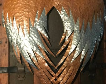 Handmade Copper Angel Wings/Heart Sculpture