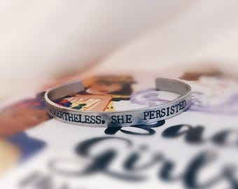 She Persisted Quote Cuff Bracelet