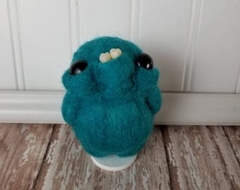 Adorable Needle Felted Wool Toothy Monster- Teal