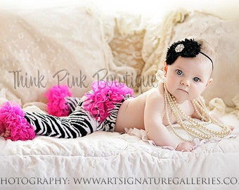 Zebra striped with hot pink ruffles baby and toddler leg warmers