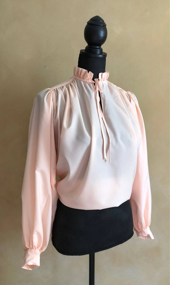 Vintage Peach Blouse - 60's era - High Ruffled Tie Collar with Bloused Sleeves -