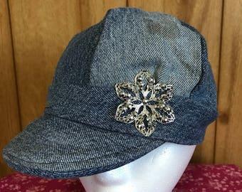 News boy hat, Homemade news boy hat, upcycled jeans, Hat, baseball cap