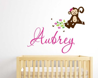 MONKEY  Wall decal Custom Personalized Initial Name Vinyl Wall Decals  perfect decoration for nursery or playroom