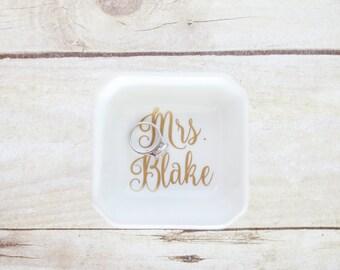 Custom Wedding Bridal Ring Dish - Square