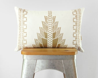 12x18 White and Metallic Gold Lumbar Decorative Pillow Case | Navajo Pattern Throw Cushion Cover | Aztec, Southwestern, Ethnic Decor