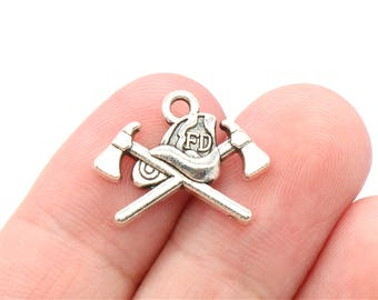 8 Pcs Fire Department Charms Antique Silver Tone 19x16mm - YD1464