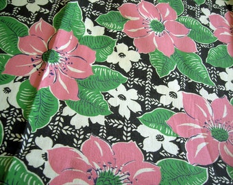 Vintage Cotton Fabric 1940's 2 Yards Pink Flowers
