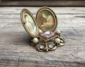 Vintage Florenza Vanity Accessory Picture Frame Double Locket Hollywood Regency Desk Accessory