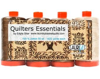 AURIFIL Set of 4 MAKO 50 Wt Quilter's Essentials Cream Light Tan Basic Color Quilting Thread