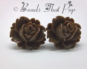 Dark Brown Flower Earrings, Rose Stud Earrings, Brown Earrings, Handmade, Fun Earrings, Great gift for all ages, Handmade in the USA!