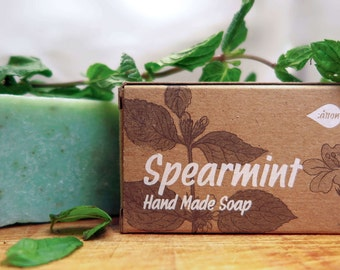 Spearmint Soap,herbal soap,natural soap,bar soap,organic soap,gift for all,cooling soap,cleaning soap,pure soap,cold process soap