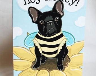 French Bulldog Honeybee Greeting Card - Black