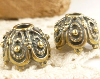14mm Large Ornate Antiqued Brass Bead Cap, Rustic,  Mykonos Casting Beads (4) - M88 - X3965