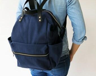 Canvas diaper navy Backpack , Navy Bag, Canvas backpack , Diaper Bag , Laptop bag, Women , School bag, diaper bag backpack,CYBER MONDAY