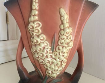 Roseville style foxglove vase