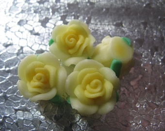 12 Yellow Rose Beads  14mm Polymer Clay Fimo Flower beads