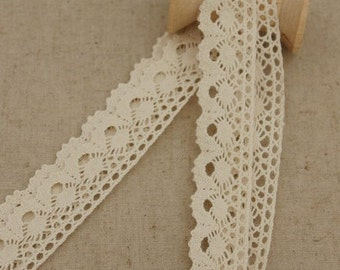 5 Yds Cream Color Crochet Cotton Lace Tape, 0.9 inch wide