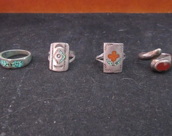 Lot Sterling Silver Turquoise and Coral Native Style Southwest Ring Lot (e850)