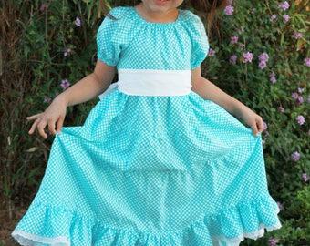 Girls Peasant Dress - Girls Ruffle Dress - Girls Maxi Dress - Modest Long Dress - Aqua Polka Dot Dress - Girls Boutique Dress - White Dress