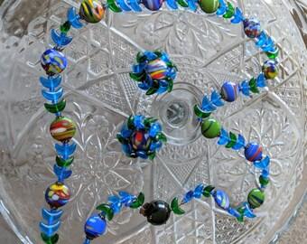 W. German Art Glass Vintage Necklace & Earring Set