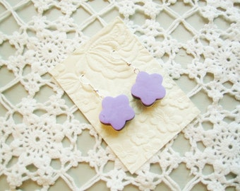 Earrings jewelry lilac licorice allsorts flower polymer plastic silver white sweet candy food silver hook dangle drop fimo clay kawaii gift