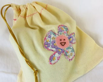 Critter Bag #2 - Appliqued gift bag, project bag, repurposed materials, recycled, embroidered monster, plushie bag, kids' storage, pouch