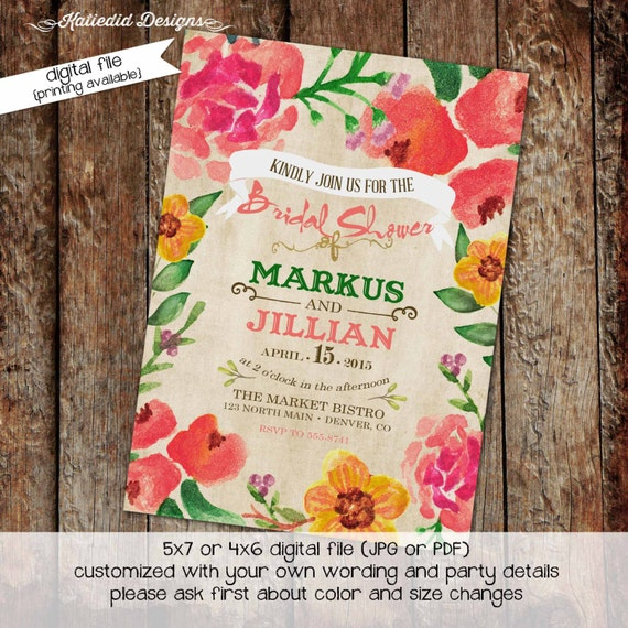 Couples Bridal Invitation floral chic invite Rehearsal Dinner I do BBQ engagement party after party stock the bar co-ed 306 Katiedid Designs