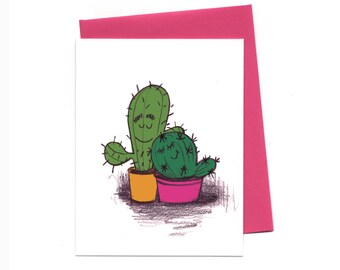 Stuck Together Cacti, Love Friendship Greeting Card