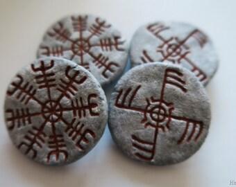 Galdrastafur fridge magnets, 2 pcs: Ægishjálmur + Ginfaxi (Icelandic runes, magical staves, Ásatrú, vikings)