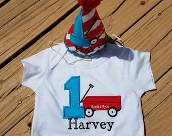 Baby boys first birthday, radio flyer onesie or tshirt, red wagon and matching party hat