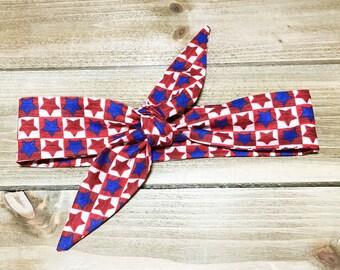 SPECIAL- Patriotic Headbands USA Headband 4th of July Headbands Tie Knot Headband Matching Headbands Mother Daughter Headband Baby Headwrap