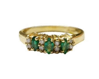 Natural marquise Emerald Diamond Ring in 14 K Yellow Gold  ----- Free Shipping in USA Only