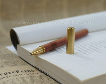 brass pen, wooden pen