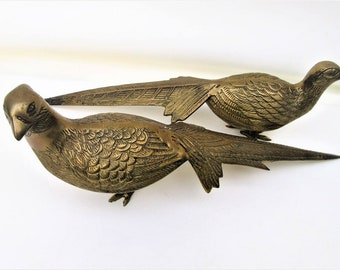 Vintage Brass Peacocks | Large Brass Birds |  Brass Pheasants | Pair of Peacocks | Bird Figurines | Large Brass Figurines | Metal Sculptures
