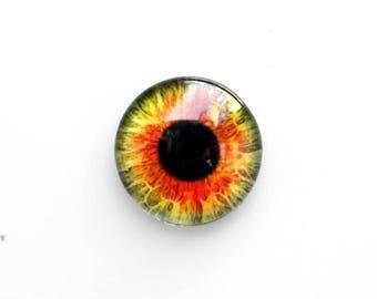 16mm handmade glass eye cabochon - Orange / green eye - standard profile