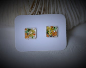 Real FLOWER Earring, Gem SQUARE Earring, Yellow / Orange / Green Flower Earring, Resin Earring ~ 8 mm