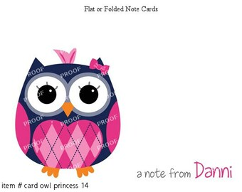 Navy Pink Owl Note Cards Set of 10 personalized flat or folded cards