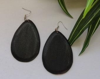 Teardrop Wood Earrings | Raindrop Wooden Earrings | Oval Wood Earrings | Oblong