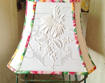 Embroidery Lamp Shade - White Linen Lampshade - Lovely